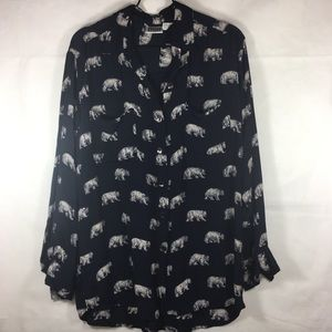 Vintage Chico's Bear Print L/S Button Front Tunic